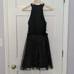 Black / Silver sparkles homecoming dress mini